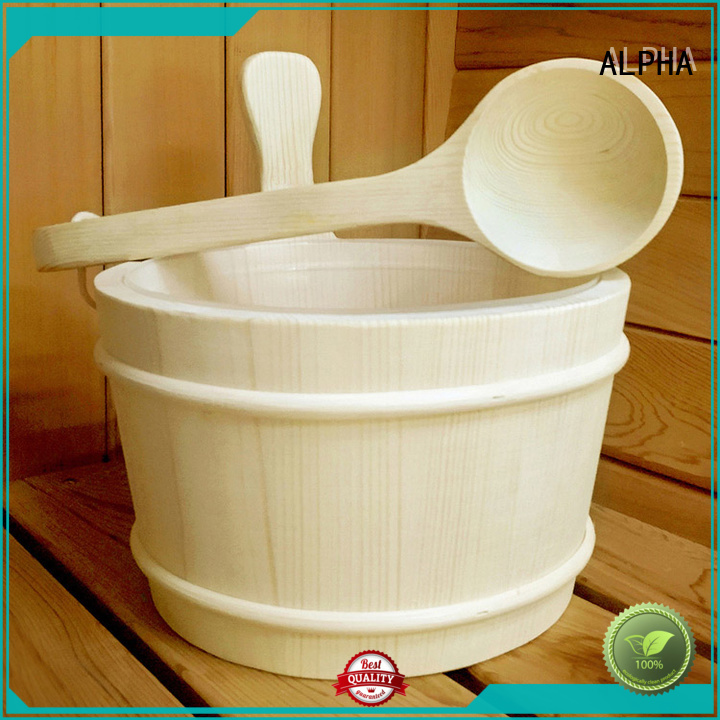 Wholesale strong wooden sauna bucket ALPHA Brand
