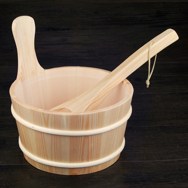 Sauna Bucket and 4L Ladle With Insert  Finnish Type Wooden