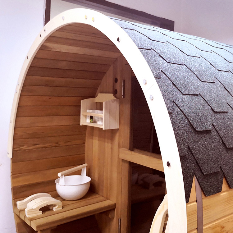 Outdoor Barrel Sauna Room, Round Shape  With Harvia Electrical Heater 4-6 Person Western Red Cedar