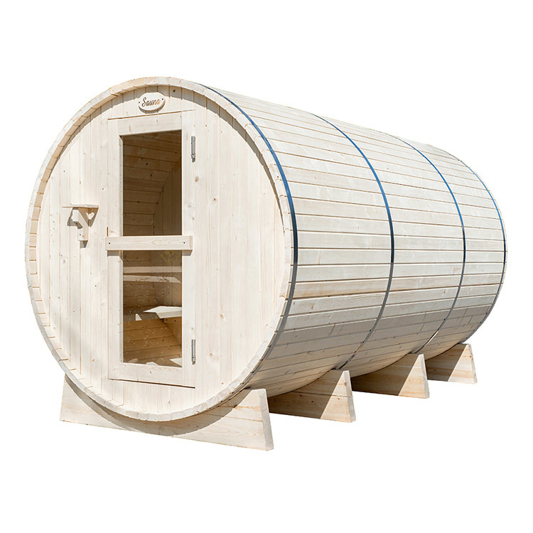 Round Barrel Sauna Room With Harvia Electrical Heater 8 Person Pine