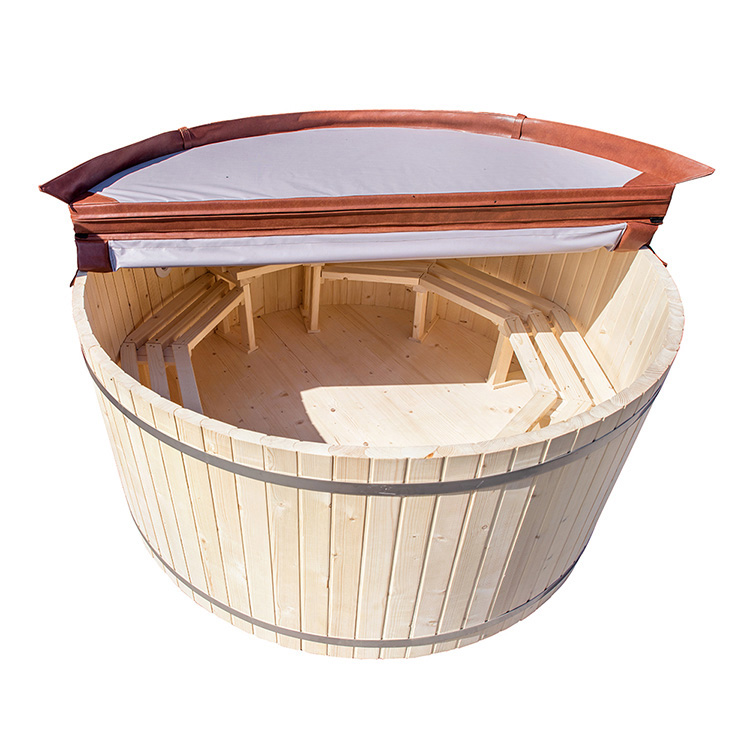 Wooden Hot Tub Come With External Stainless Steel  Fired Stove Heater 4-6 Person