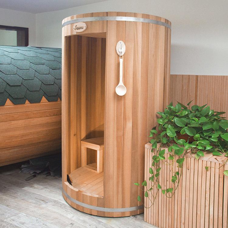 Barrel Sauna Room Silo Canada Clear Red Cedar  For Outdoor Use