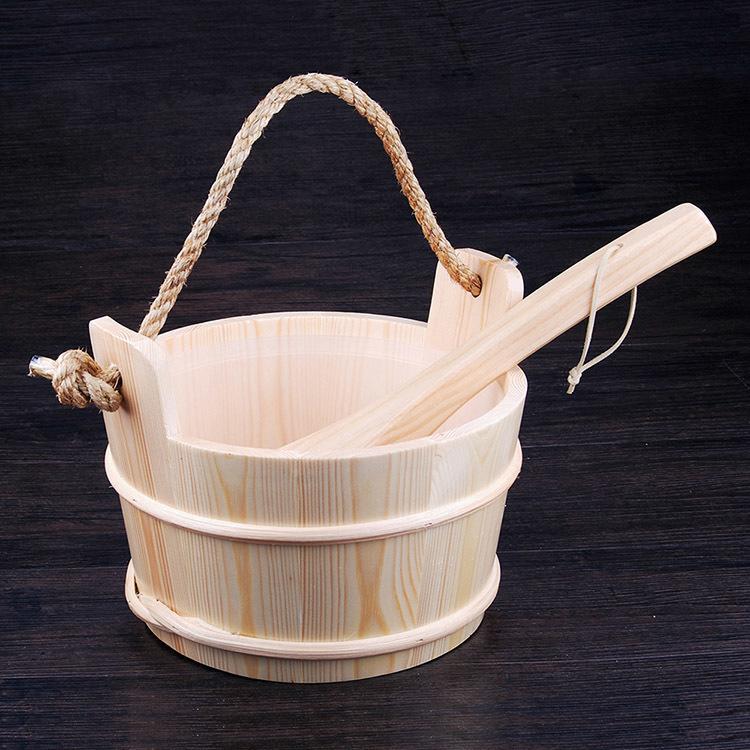 Sauna Pail and Ladle for dry sauna accessories 4L Spruce/Red Cedar/Aspen