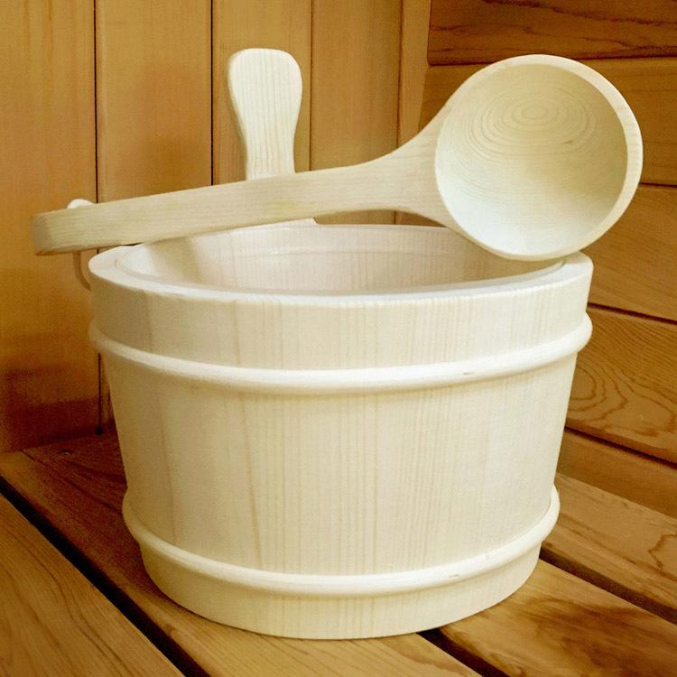 Sauna Bucket Enough 4L Europe Type Finnish Pine  And Ladle/ Aspen/Red Cedar