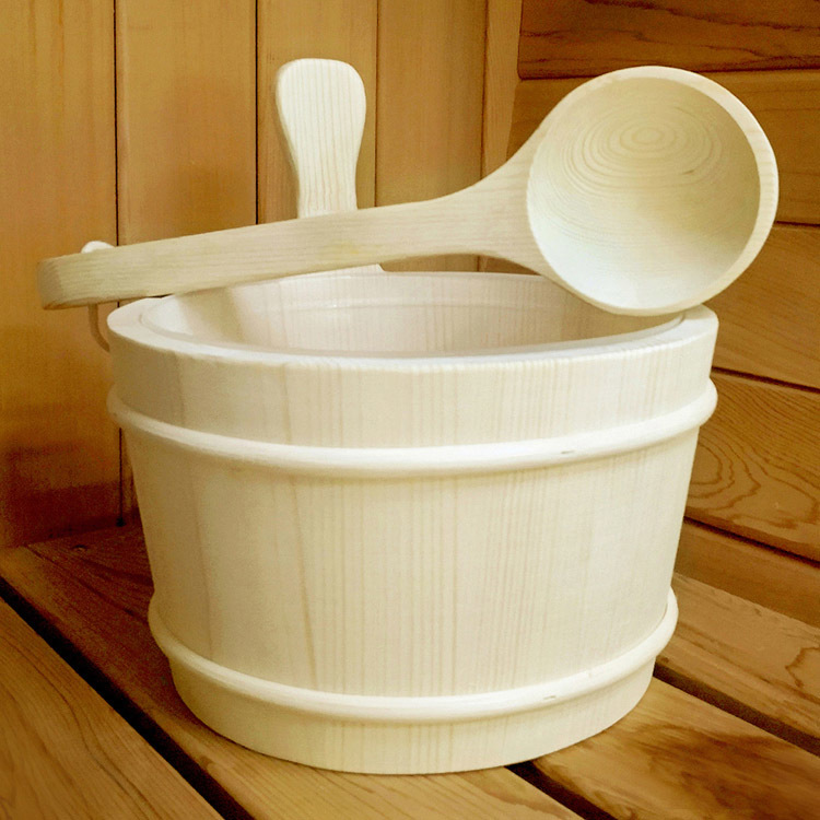 Sauna Bucket Enough 4L Europe Type Finnish Pine  And Ladle/ Aspen/Red Cedar