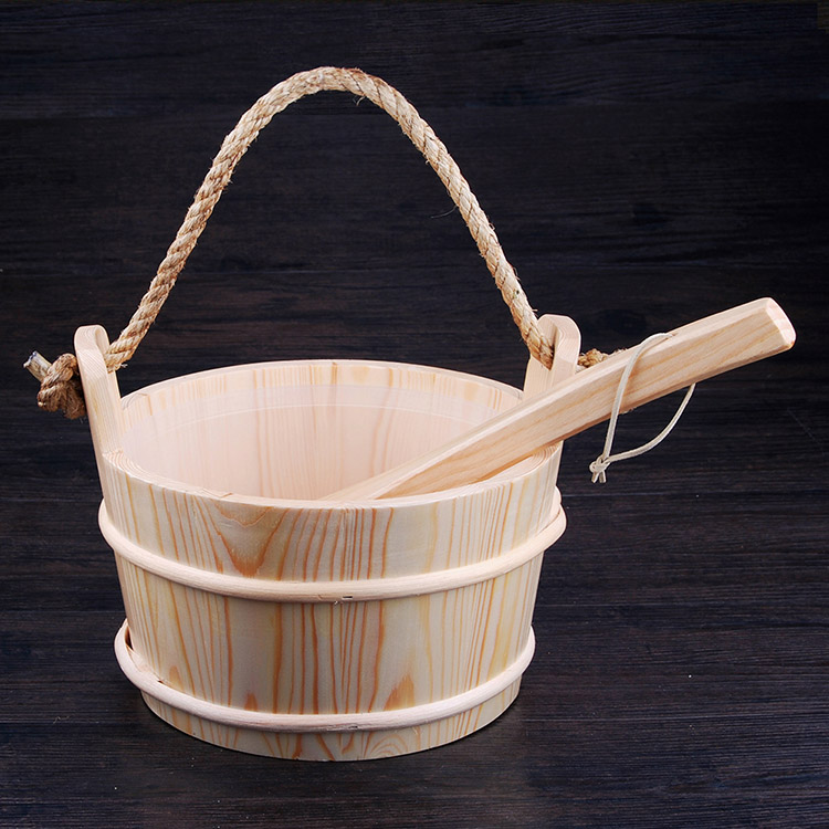 Sauna  Pail And Ladle 6L Rope Handle Red Cedar/ Aspen/ Pine  With PlasticLiner