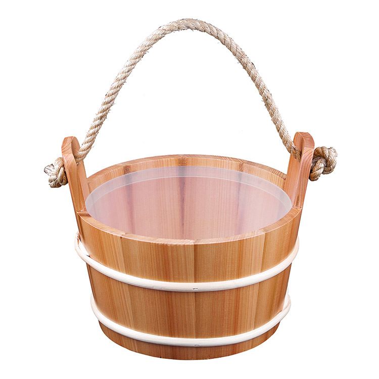 Sauna Pail And Ladle 4L Red Cedar/ Spruce/Aspen Set Including Plastic Linner