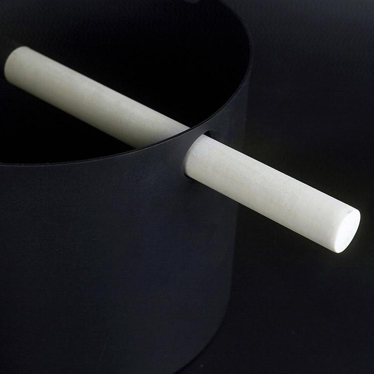 Aluminium Sauna Bucket & Ladle 5L  Black/White/ With Bamboo Handle Set.