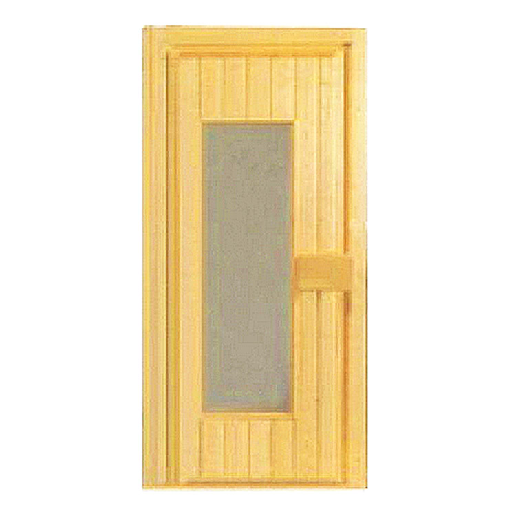 Traditional Type Sauna Wooden Door With Clear Toughened Glass Window 600*1800MM