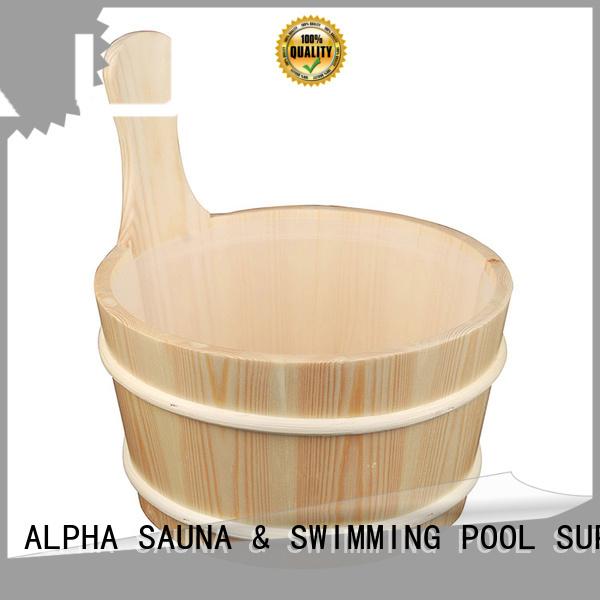 wooden sauna bucket pail cedarspruce blackwhite ALPHA Brand