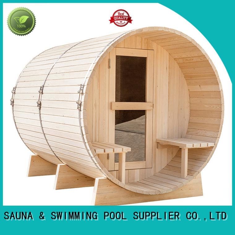 ALPHA Brand person hemlock pine outside sauna infrared