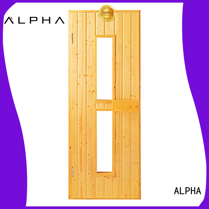 wooden Custom stainless frame sauna door ALPHA window